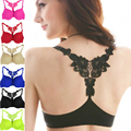 Sexy Women Push Up Bra Front Closure Floral Lace Racer Back Racerback Padded Underwire Seamless Soutien Gorge Sujetador