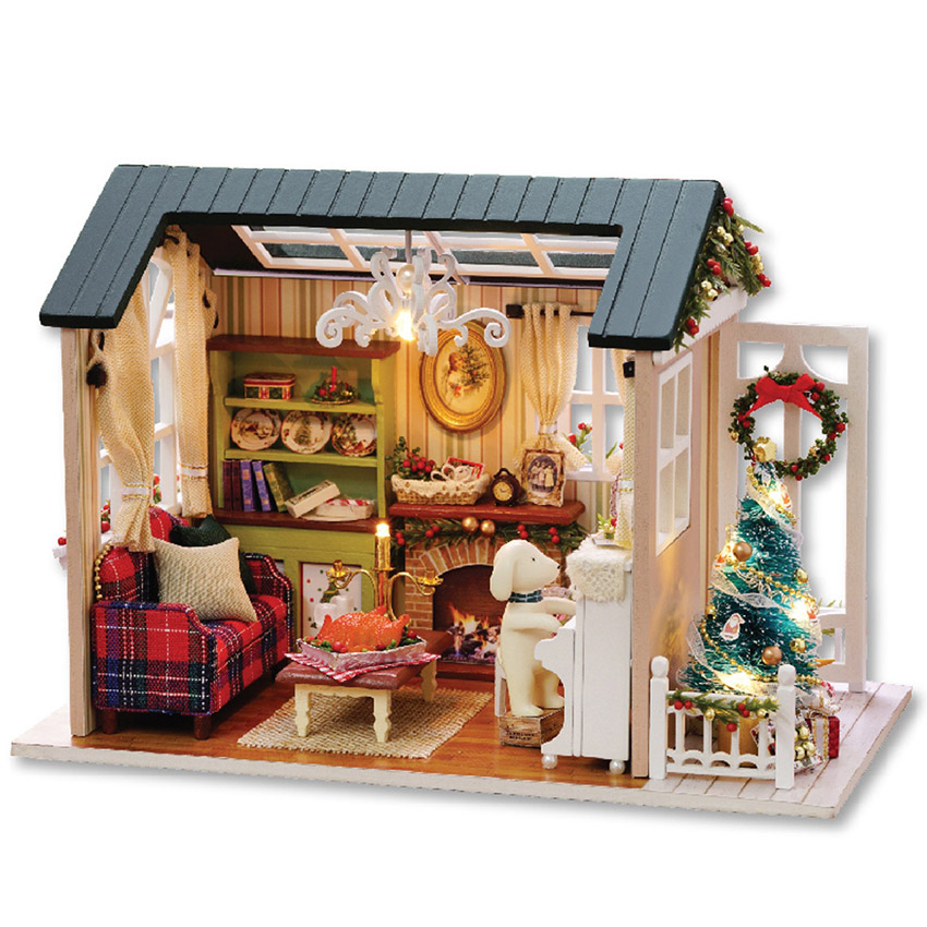 New DIY House Furniture Construction Set Model & Building Toy Wooden Blocks Educational Toys For Kids Girls Gift