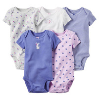 Summer 5pcs set Baby Girl Casual Short Long Sleeve colorful Combination Packages Bebe Bodysuits