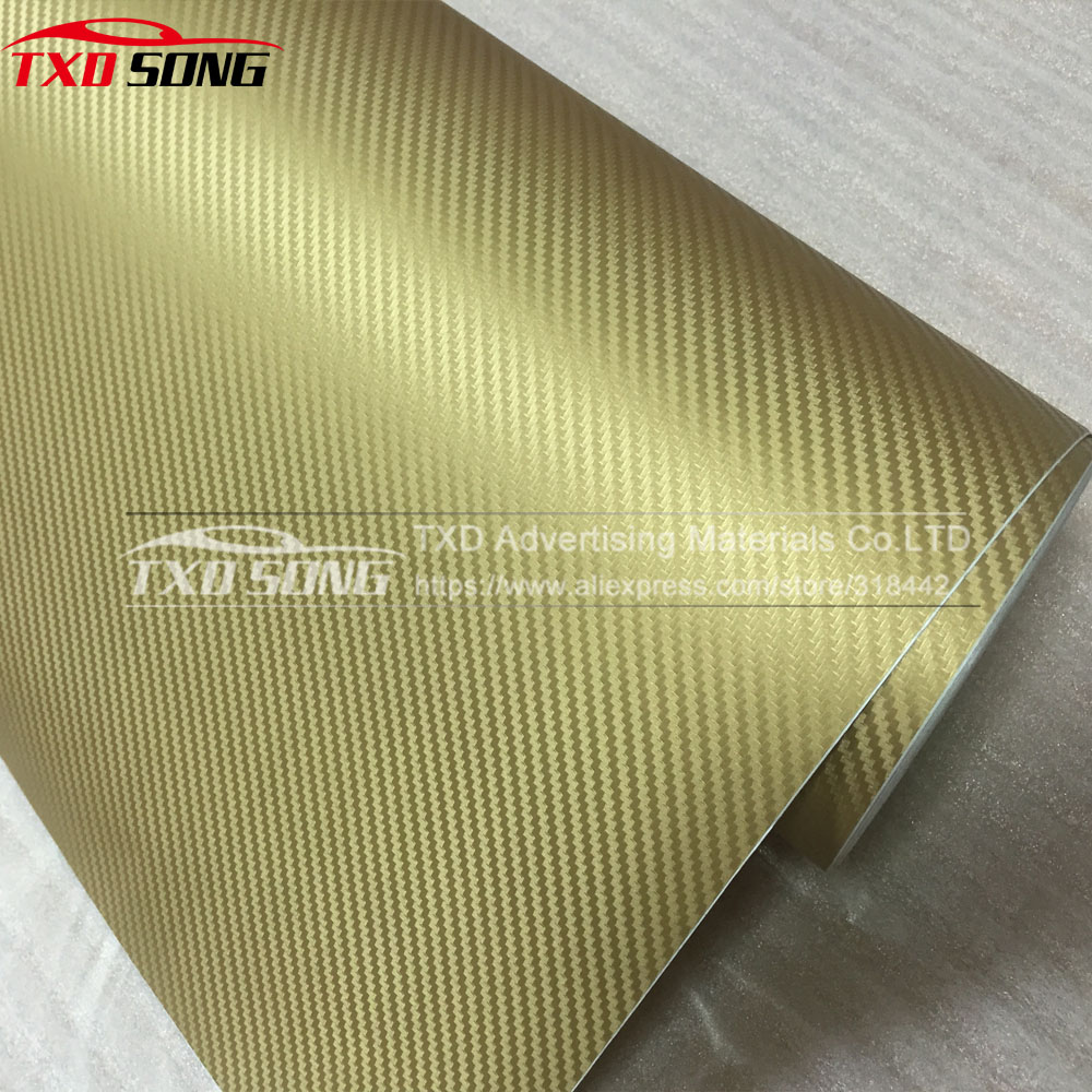 1,52*10 м/Roll Высокое качество золото 3D углерода волокно стикеры 3d винил с рисунком под углеродное волокно плёнки с воздуха бесплатная Пузыри бе