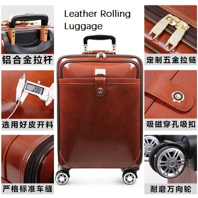 CARRYLOVE High quality Retro luxury 16/20/22 size Cow Leather Rolling Luggage Spinner brand Travel SuitcaseCARRYLOVE High quality Retro luxury 16/20/22 size Cow Leather Rolling Luggage Spinner brand Travel Suitcase