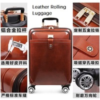 CARRYLOVE High quality Retro luxury 16/20/22 size Cow Leather Rolling Luggage Spinner brand Travel Suitcase
