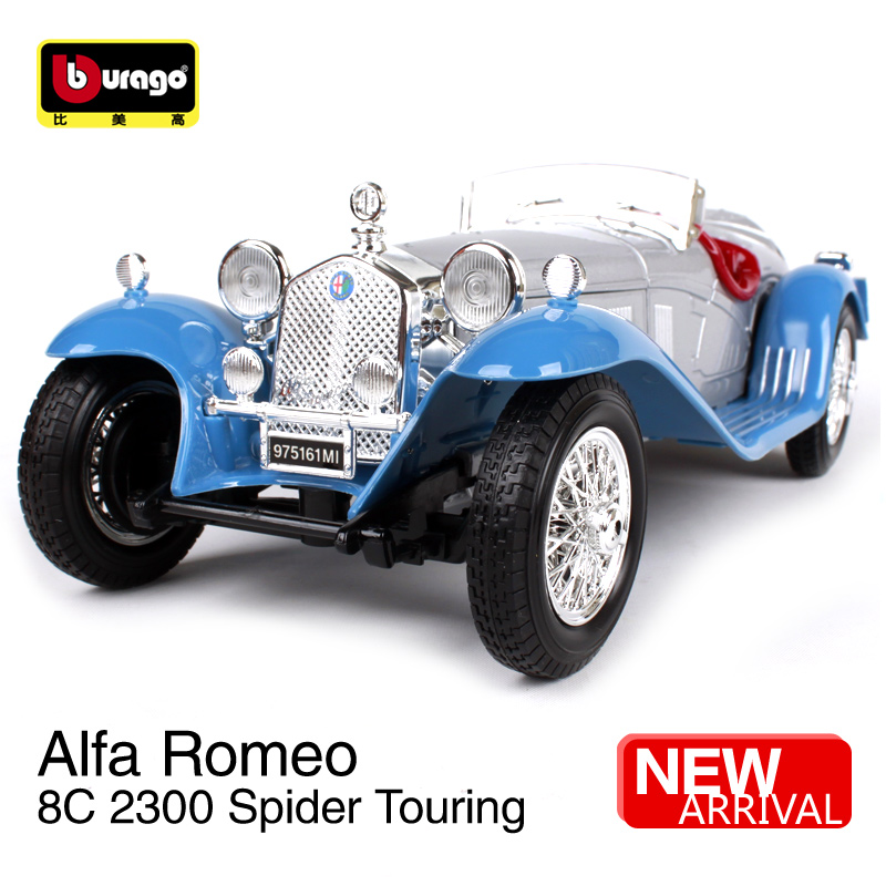 Bburago 1:18 Alfa Romeo 8C 2300 Spider Touring Car model Retro Classic Car Diecast Model Car Toy New In Box Free Shipping bburago 1 18 458 alloy supercar model favorites model