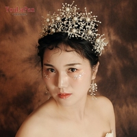 YouLaPan HP244 Fast delivery Wedding hair crown Rhinestone Pearl wedding accessories for women party wedding fascinators