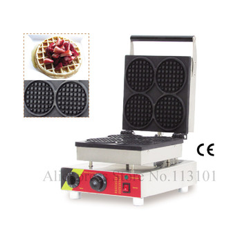 Classical Round Shape Waffle Maker Great Snack Machine Stainless Steel Belgium Waffle Making Machine with Four Pcs Moulds 1ps fy 2205 rotating waffle electric heating waffle single head stainless steel waffle mcmuffins machine