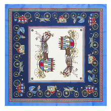 2017 New Designs 60*60cm Tabby Silk Square Scarf Royal Horses Carriage Women Luxury Scarf Brand Classic 100% Silk Scarves Shawl
