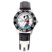 Disney Brand Mickey Mouse Black Cartoon Watches For Kids Boys Genuine Leather Quartz Child Students Clocks