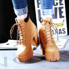 2017 Autumn Winter Fashion 13CM Ultra-High Heel Martin Boots Thick Nightclub Muffins Shoes Women High Platform Punk Ankle Bootie aiykazysdl women ankle boots faux leather suede motorcycle biker bootie punk buckle platform block ultra very high heel shoes