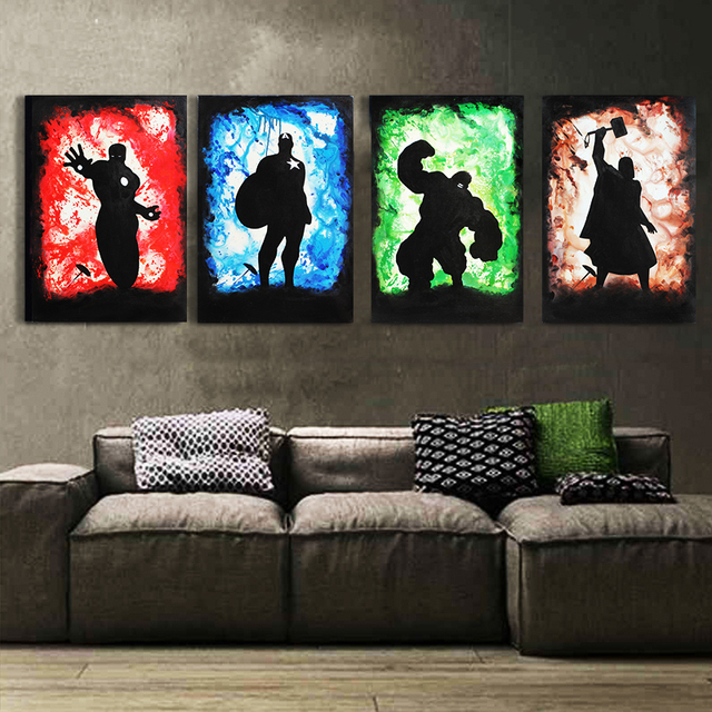 Exceptional Cheapest 4Pcs The Avengers Oil Painting Hand Painted On Canvas Cartoon  Pictures For Home Decor Wall