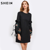 SHEIN Frill Trim Embroidered Lantern Sleeve Straight Dress Autumn 2017 Black Long Split Sleeve Elegant Tunic
