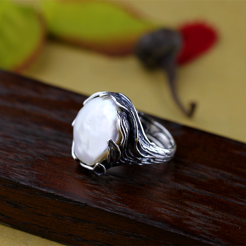 Original Handmade 925 Sterling Silver Baroque Pearl Ring Genuine Natural Freshwater Pearl Vintage Thai Silver Processing-in Rings from Jewelry & Accessories    2