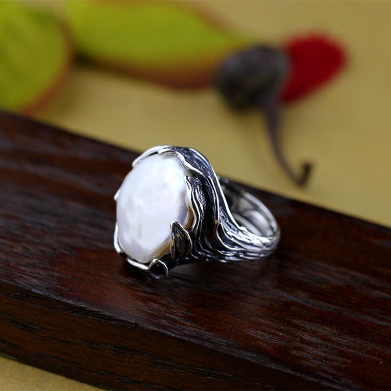 Original fait à la main en argent Sterling 925 Baroque perle anneau véritable naturel perle d'eau douce Vintage Thai traitement de l'argent-in Anneaux from Bijoux et Accessoires    2