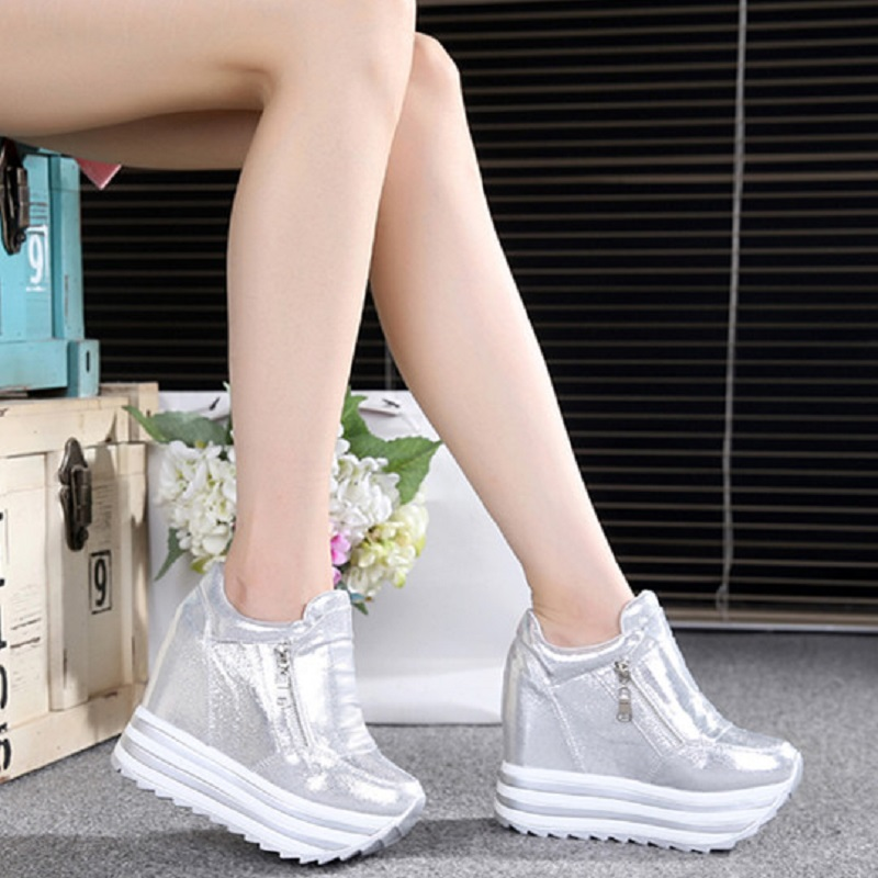 Women Sneakers 2019 Spring Autumn High Heels Ladies Casual Shoes Women Wedges Platform Shoes Female Thick Bottom Trainers