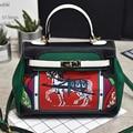 Платины мешок роскошные сумки женские сумки дизайнер верховая сумка женская Граффити печати плеча crossbody сумки известный бренд топ-ручка