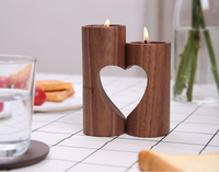 Wood Hollow Heart Aromatherapy Lovers Cheap Candle Holders Modern European Style Creative Home Wedding Ceremony Ornament Gifts