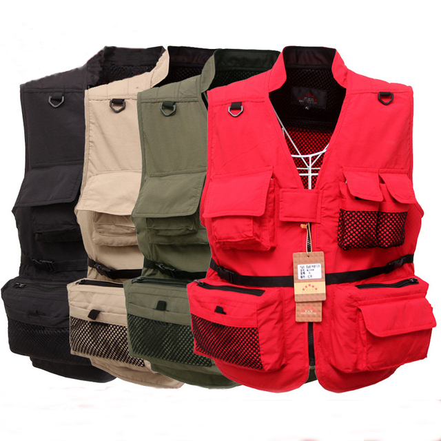 2017 Men's vest Multifunctional Quick-Drying Mesh Vest Jacket Loose Multi-Pocket Photography Angler Waistcoat