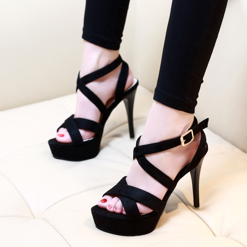 Summer Gladiator Sandals Shoes For Women Shoes Sexy High Heels Black Women Wedding Party Casual Sandal Shoes CH B0072 in High Heels from Shoes