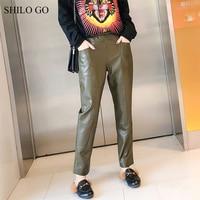 SHILO GO Leather Pants Womens Spring England sheepskin genuine leather Pants tie stretch high waist side pocket pencil pants