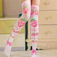 ThighHigh medias de verano para mujer Calcetines por encima de la rodilla medias largas sexis de chica estampado 3D medias rosa de fresa roja 7H-SW09