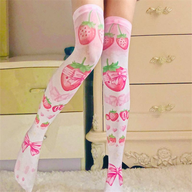 Women Sexy Thigh High Stocking Summer Over Knee Long Socks 3D Printing Red Strawberry Pink Silk Hot Stockings For Girl SW09