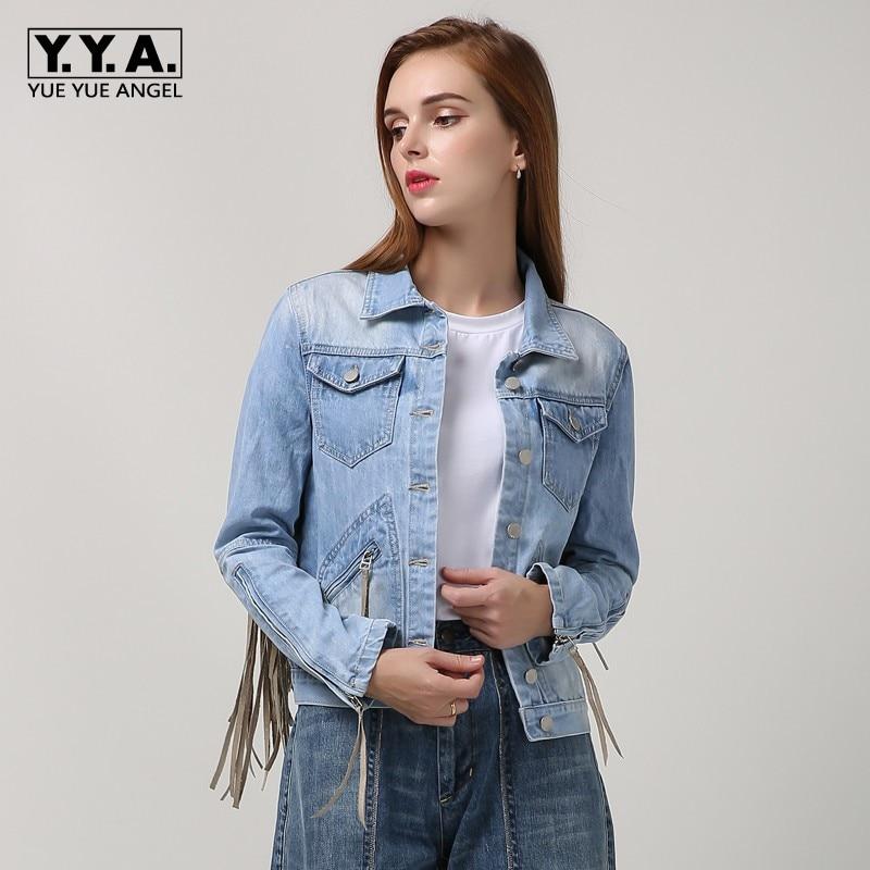 Style européen femmes Denim veste mode simple boutonnage gland extérieur poche veste à glissière Streetwear Slim Fit Jean vestes