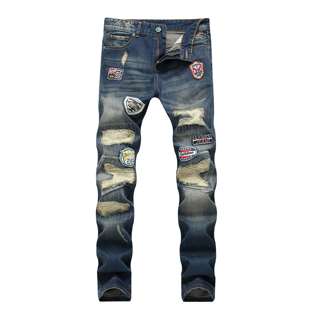 Jeans Men 2018 Spring Ripped For Mens Joggers Patches Joger Riped Distressed High Street Style Mid Waist Straight Full Length In From Clothing