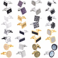 18 Styles Classic Cufflinks for Mens Shirt Cuff buttons High Quality brand Round Square Business Cuff links Christmas Gift
