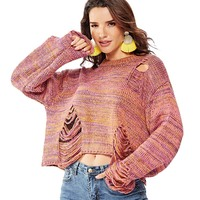 Women Autumn Crop Top Sweater Flare Sleeves Pullovers Sweet Candy Color Loose Tops JL