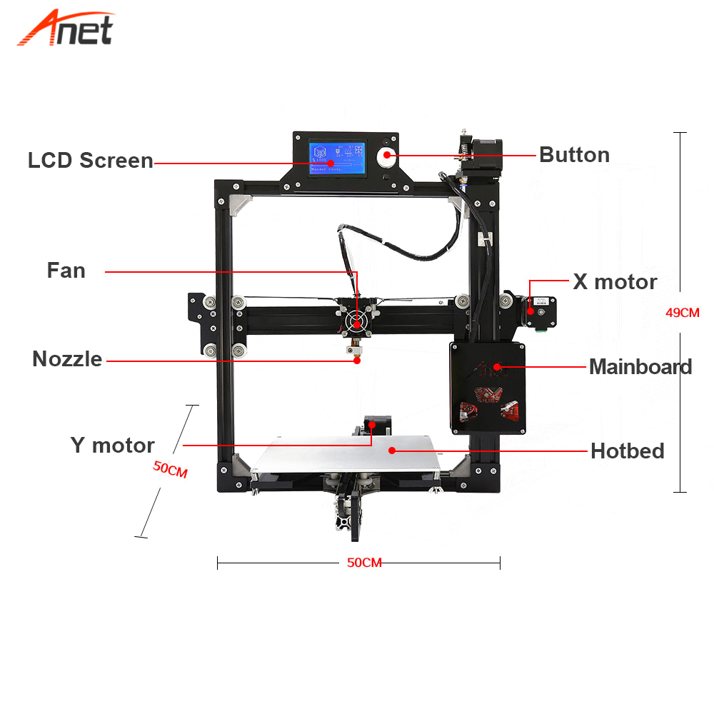 Anet A2 Light Weight Save Freight Cost 3d Printer Kit Single Color Metal Frame 1.75mm Filament Impressora 3d 0.1mm Precision - 5