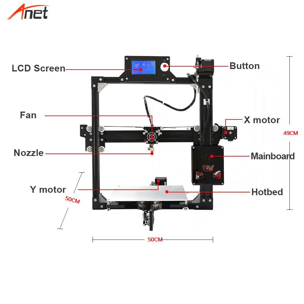 Anet a2 peso leve salvar o custo de frete 3d kit impressora única cor metal quadro 1.75mm filamento impressora 3d 0.1mm precisão - 5