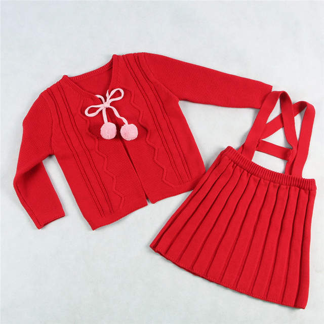 05be7d727 Online Shop Baby Girl Sweater Cardigan Kids Girl Knitted Suspender ...