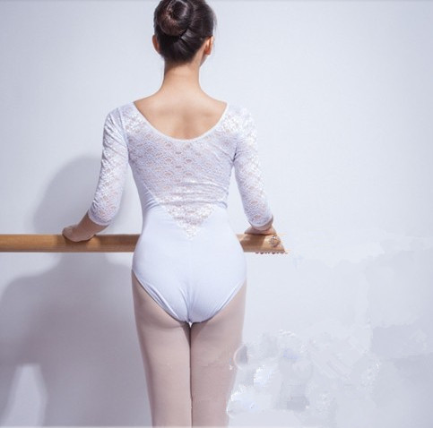 Costume élégant adulte ballet danse vêtements demi manches dentelle justaucorps combinaison justaucorps danse Camisole - 5