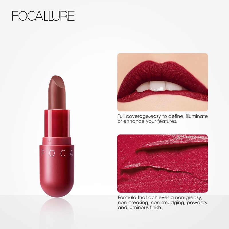 FOCALLURE מותג 2019 מט שפתון עמיד למים לאורך זמן נשים חדש איפור שפות סקסי אדום חום קטיפה שפתון