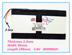 3 провода 3296196 3,8 в 8000 мАч для Teclast X98 воздуха 3g P98 3g планшетный ПК Батарея 329698*2X98X98 air p98 X98 P98HD P98