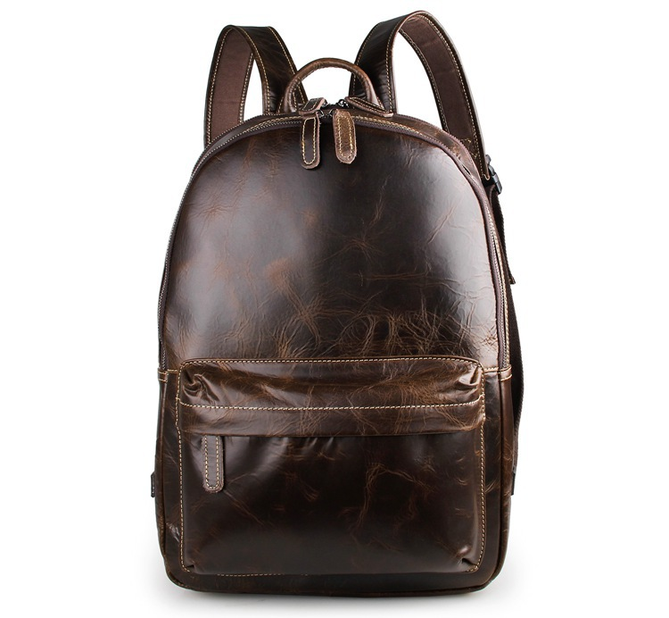 Real Genuine Leather Vintage Backpack Men School Male Black / Chocolate Fashion Leisure Men's Travel Bags Daily Backpacks J7273