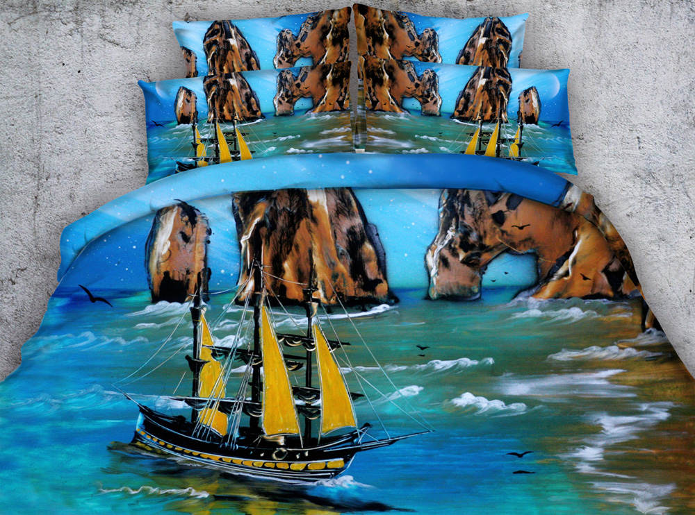3d printed bedspread coverlets duvet covers bedding sets twin full queen king cal king size woven 500TC oil painting sea beach3d printed bedspread coverlets duvet covers bedding sets twin full queen king cal king size woven 500TC oil painting sea beach