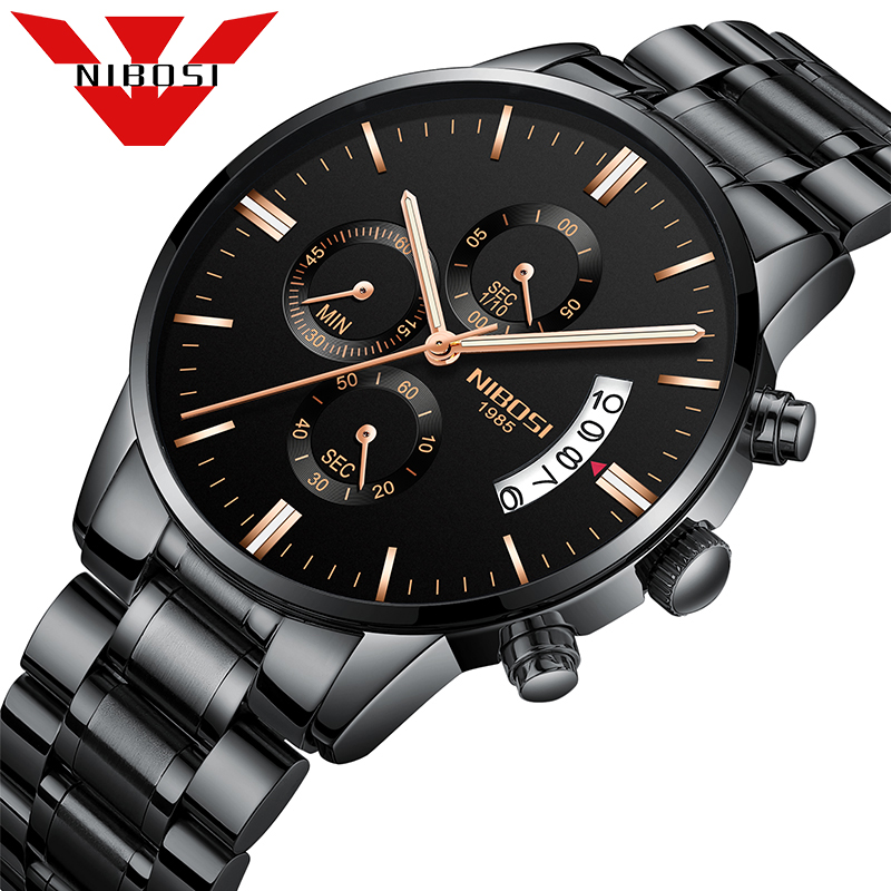 NIBOSI Business Auto Date Quartz Watch Male Waterproof Stainless Steel Leather Casual Wristwatch Gift Box Men Luxury Watches