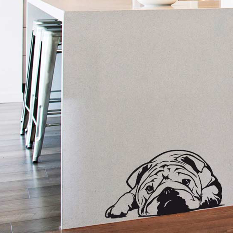 Art design Vinyl domácí dekorace kreslený buldok nástěnné nálepky levné PVC dům výzdoba roztomilé zvířecí nálepky do obývacího pokoje