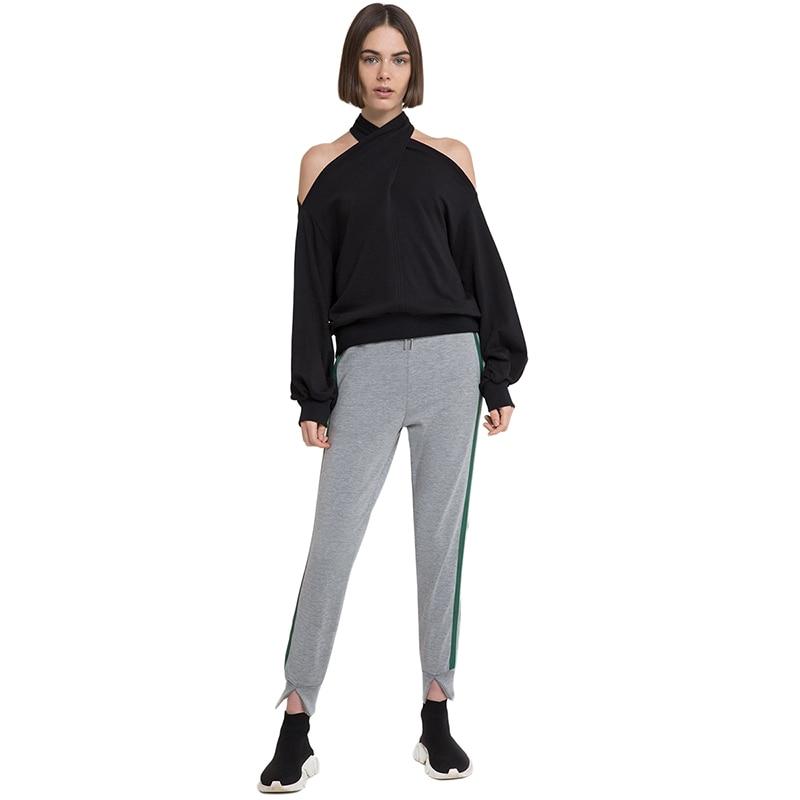 Misskoko Cross Halter Hallow Out Designer Off Shoulder Bcakless Blouse Long Lantern Sleeve Solid Sexy Brief Fashion Blouse