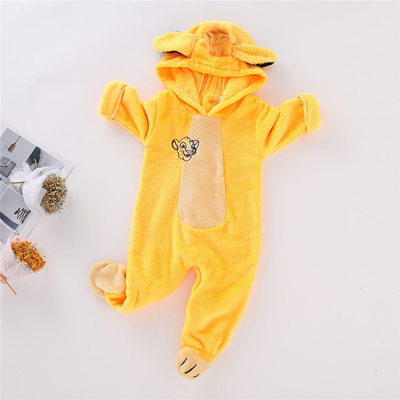Wisefin Newborn Clothes Tiger Costume Fleece Hooded   Romper   Long Sleeve Jumpsuits Baby   Rompers   Winter Onesie Unisex Baby Clothes