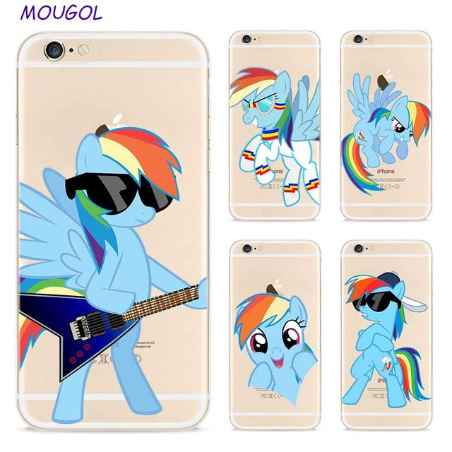 online retailer e79b9 278e3 US $1.23 38% OFF|Aliexpress.com : Buy MOUGOL My Little Pony Rainbow Dash  Style Clear Soft TPU Phone Cases for Apple iPhone X 8 7 6 6s Plus 5 5S SE  5C ...