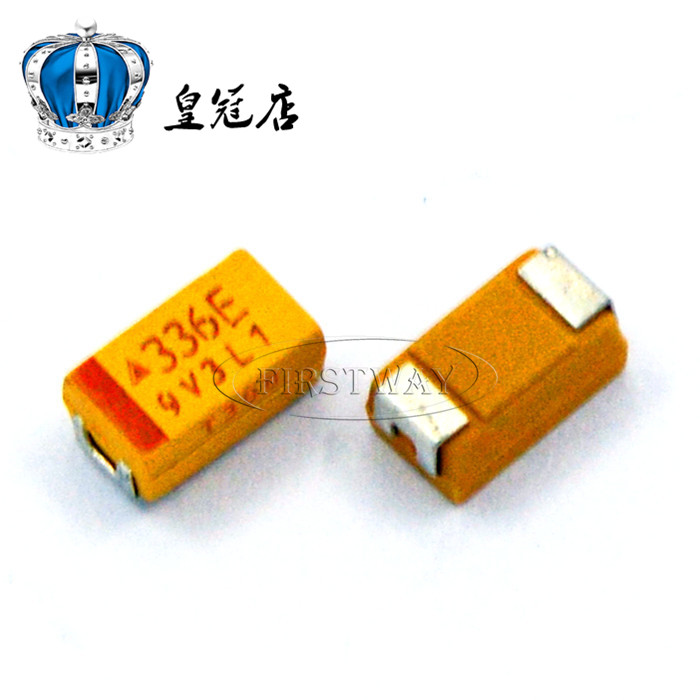 500PCS LOT Chip Tantalum Capacitors 336E 33UF 25V C Type 6032 10 Tantalum Capacitor Yellow Polar