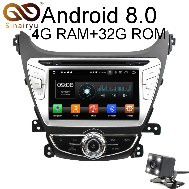 Octa Core 4GB RAM Android 8.0 Car GPS DVD Player For Hyundai Elantra/Avant/I35 2014 2015 Audio Radio Head Unit Multimedia lsqstar st 9079c 7 android car dvd player w 1gb ram 8gb rom gps wi fi for hyundai elantra