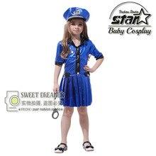 Kids Police Costume Policewoman Dress For Girls Fantasia Infantil Halloween Fancy Costume For Girls Performance Children
