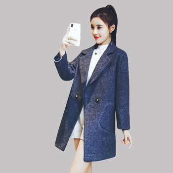 dbb81bb77 Nuevo abrigo de lana para mujer Otoño Invierno 2018 moda clásico sólido  doble fila Botón de lana chaqueta delgada gruesa larga ropa de abrigo grande