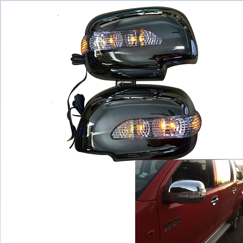 2PCS/SET LED REAR MIRROR COVER WITH TURN SIGNAL LIGHTS FIT FOR TOYOTA HILUX VIGO SIDE DOOR REAR MIRROR LED LIGHTS 2006-2014