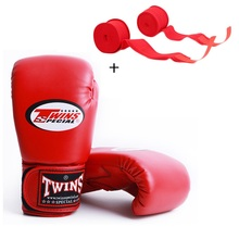 Men Women Adult Kids 10OZ 12OZ 14OZ Twins MMA Boxing Gloves  PU Leather Karate Mauy Kick + Bandage T