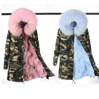 2017 Plus Size Big Raccoon Fur Collar Hooded Real For Lining Coat New Winter Army Green Jacket Outwear Thick Parkas Top Quality