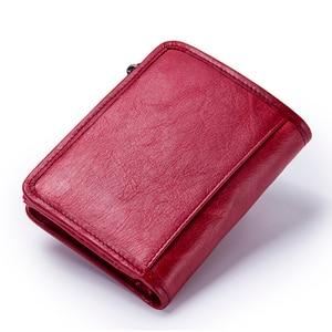 Image 2 - קשר של חדש אמיתי עור ארנק עבור נשים בציר מותג קטן קצר גבירותיי ארנק רוכסן כיס מטבע ארגונית ארנקים אדום