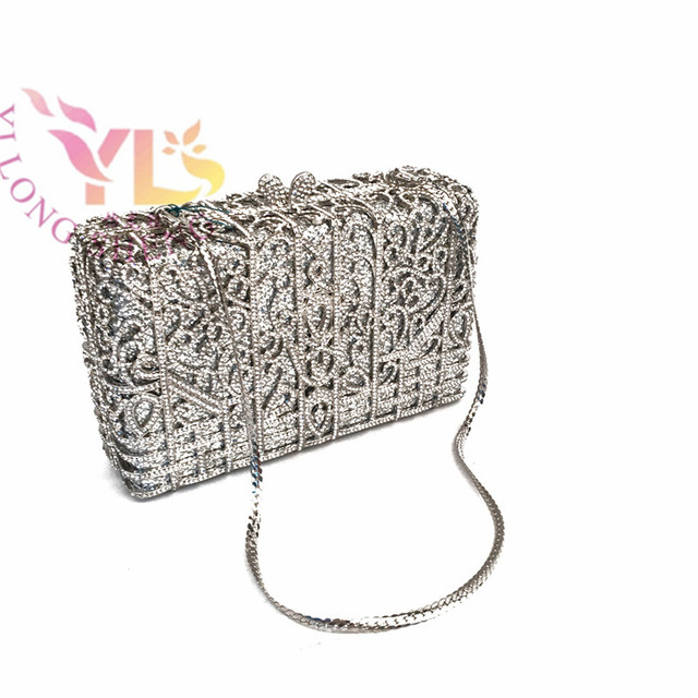 Lovely Silver Metal Clutch Bag with Stone Clutch Evening Bags Women  MD54
